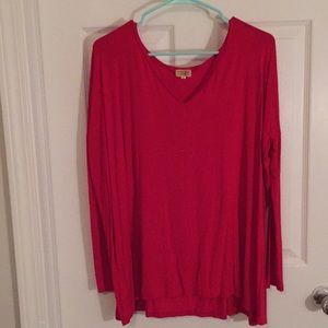 PIKO red long sleeve V-neck